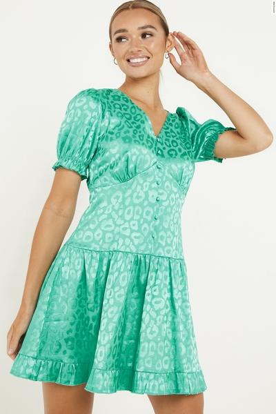 Aqua Animal Print Puff Sleeve Dress